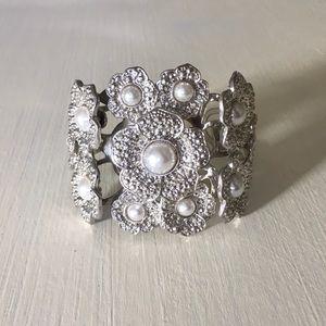 Aldo Flower Pearl Silver Statement Cuff Bracelet